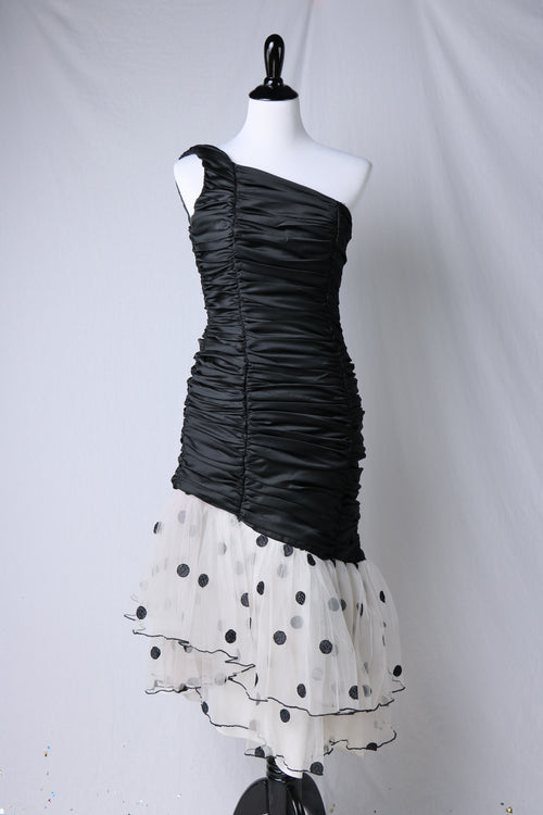 Vintage 1980's Black Ruched One Shoulder Party Dress with Asymmetrical Tulle Polka Dot Skirt