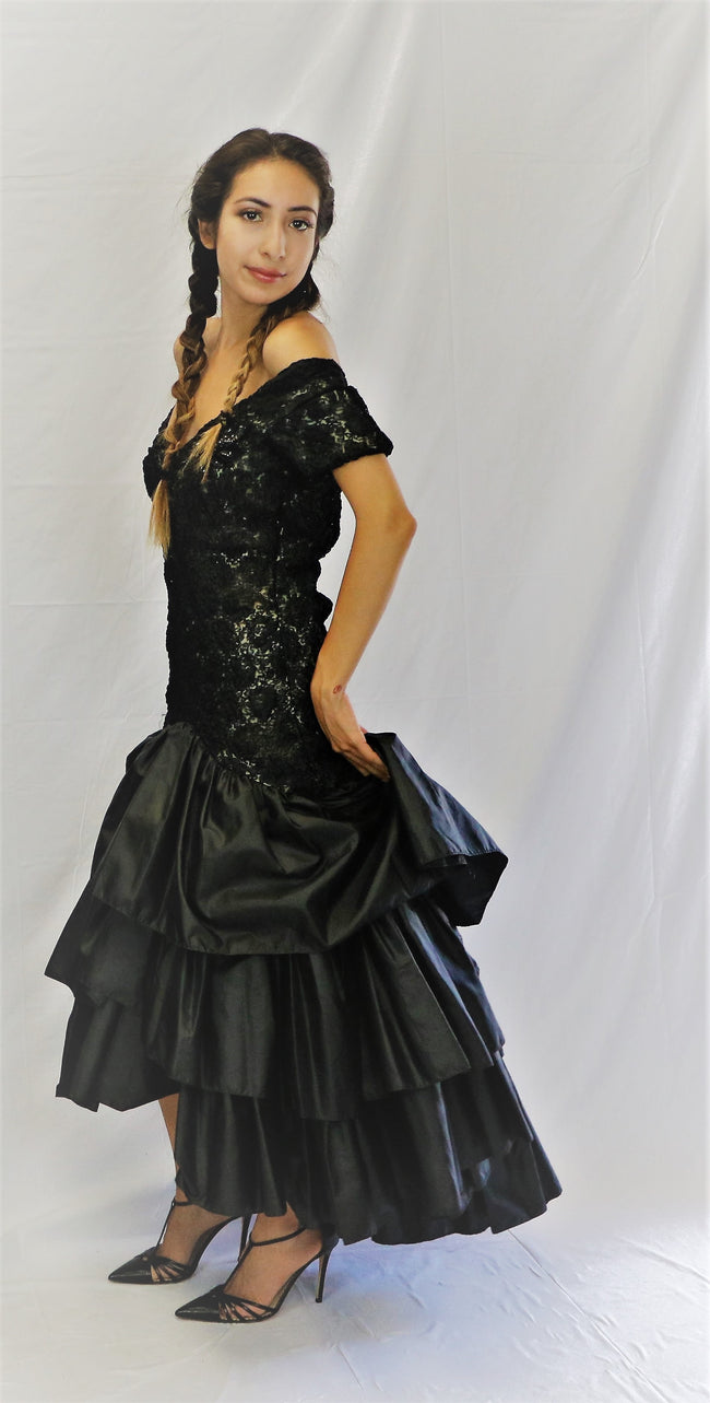 Vintage Nude Illusion Lace Evening Gown with a 3 Tier Ruffle Skirt, Train and Sequin Applique