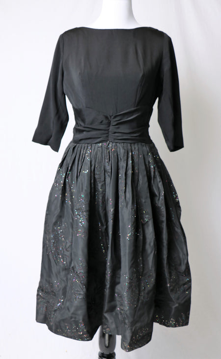 Vintage 80's Sexy Chiffon Holographic Broken Glass Print Dress with Full Hem Sweep Statement Puff Sleeves and Ruff Neckline