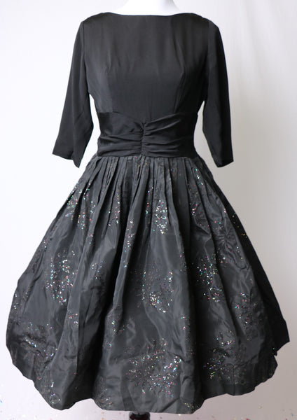 Vintage 1950's Black Evening Dress with Flocked Skirt and Original Rainbow Glitter Details