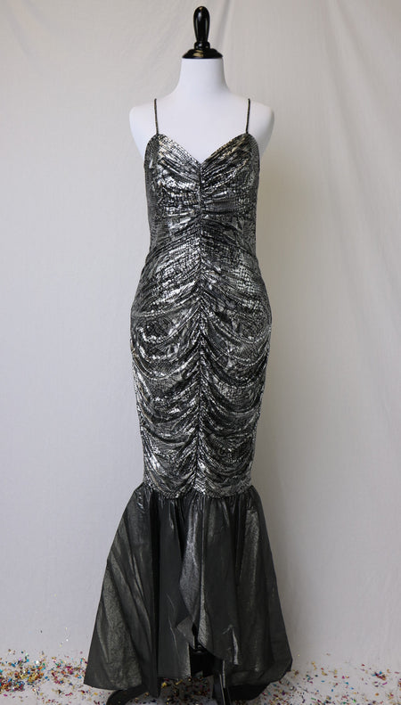 Vintage Black Sequin and Tulle Halter Style Glamour Gown