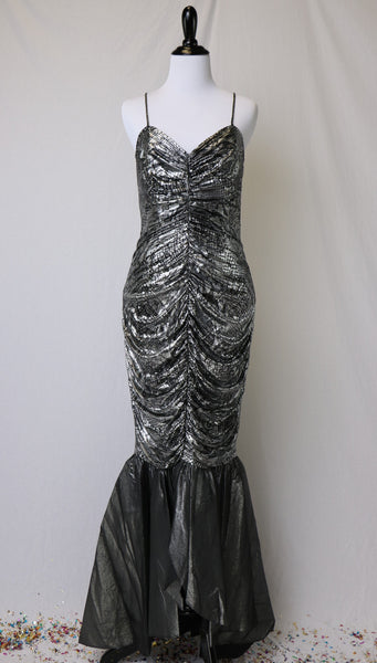 Vintage 1980's Silver and Black Metallic Snake Print Mermaid Style Evening Dress