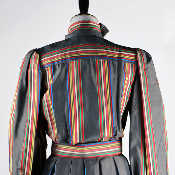 Vintage 1980's Victor Costa Gray Taffeta Rainbow Striped Dress