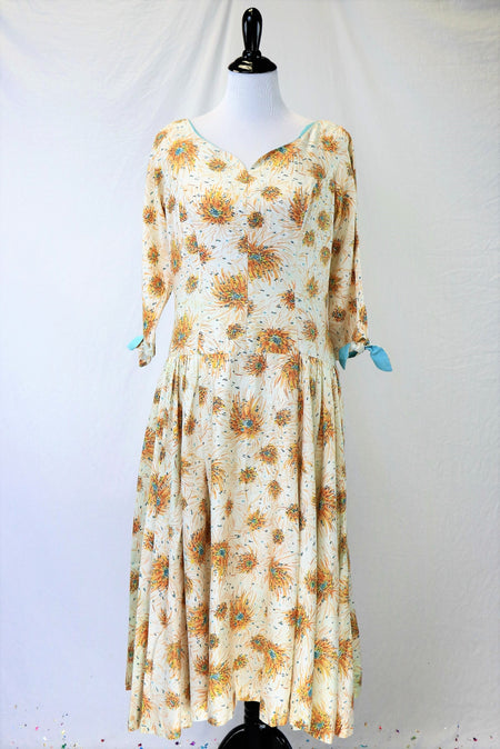 Vintage 60's/70's Chiffon Floral Print Maxi Dress with Micro-pleating and Black Velvet Belt