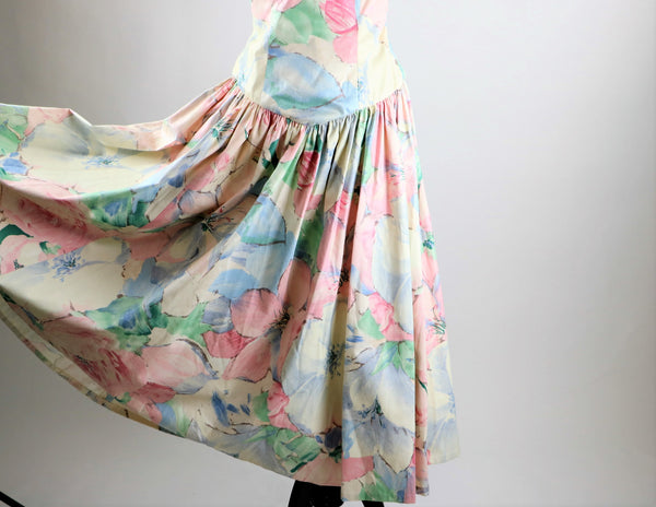 Vintage 1980's Pastel Cotton Floral Print Dress