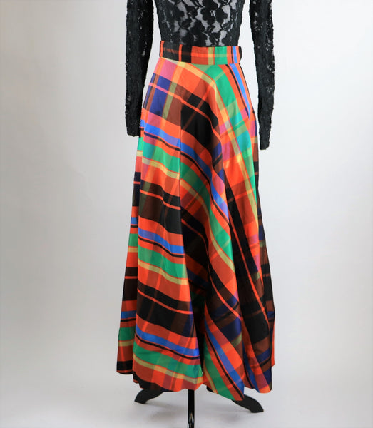 Vintage Rodette London Orange Plaid Maxi Skirt