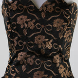 Vintage 1980's Black and Copper Metallic Floral and Bow print Gunne Sax Strapless Dress