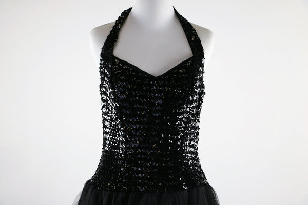Vintage 1950's Black Sequin Halter Gown with Tulle Skirt