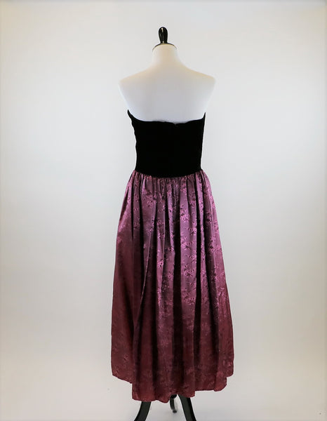 Vintage 1980's Velvet Bodice Gunne Sax by Jessica McKlintock Strapless Dress with Berry Floral Print Skirt and Bow