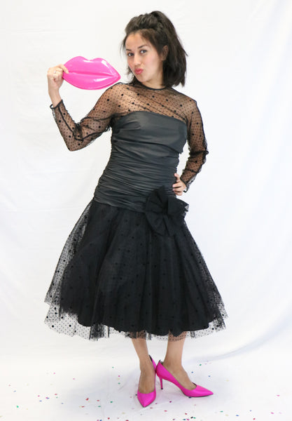 Vintage 1980's Black Mesh and Velvet Polka Dot Nolan Miller DYNASTY Saks Fifth Avenue Cocktail Dress