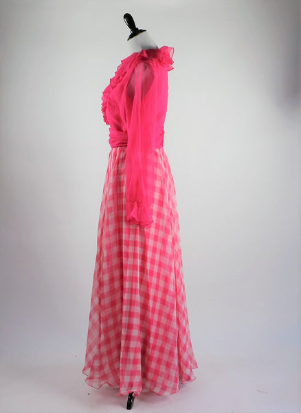 Vintage 1970's Miss Elliette California Hot Pink Chiffon Ruffled Maxi Dress with Pink and White Checkered Skirt