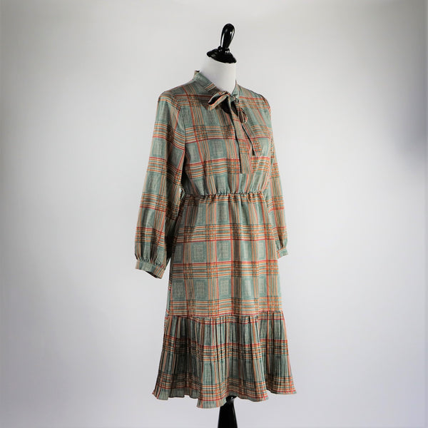 Vintage 1970's Fall Neutral Plaid Secretary Dress with Pussy Bow Closure and Pleated Skirt