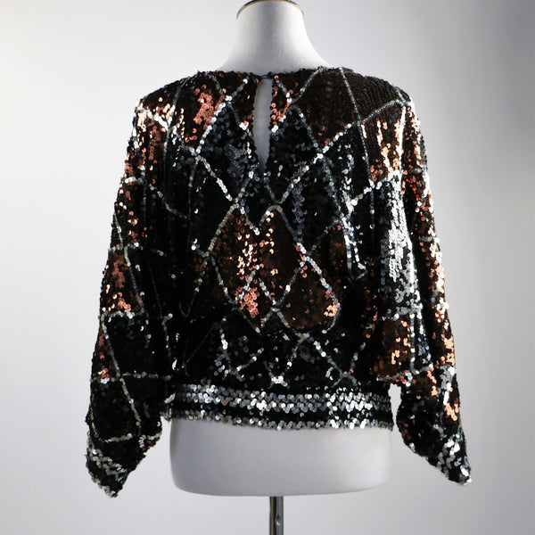 Vintage 1980's Harlequin Print Brown, Silver and Black Sequin Top