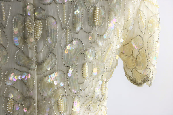 Vintage 1980's Dead-Stock Winter White Silk Beaded and Sequin Blouse