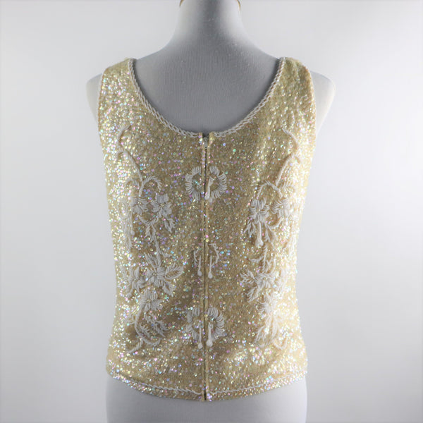 Vintage 1960's Cream Wool Sequin and Beaded Top