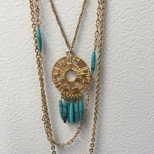 Vintage Tri-Strand Tribal Gold Tone Necklace with Turquoise Colored Beading