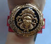Vintage Red and Gold Tone South East Asian Tribal Mask Cuff Bracelet with Pave Set Crystals