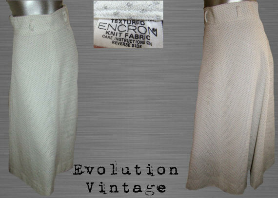Vintage 60's White High Waisted Skirt with Silver Metallic Polka Dot Print