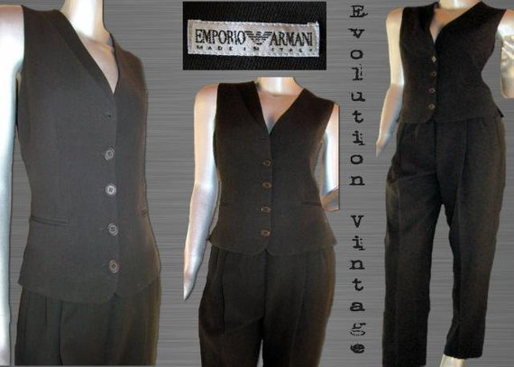 Vintage Emporio Armani Two Piece Vest and Trouser Set in Chocolate Brown