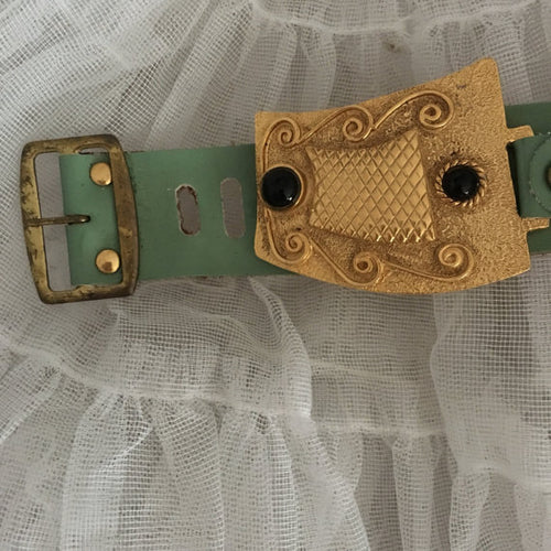 Vintage Green Watch Band Cuff with Vintage Gold tone and black cabochon belt buckle detail