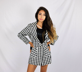 Vintage Black and White Checkered Single Button Blazer