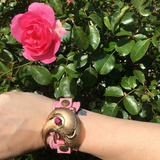 Vintage Pink Adjustable Watchband Cuff Bracelet with Gold Ornate Vintage Brooch and Vintage Russian Stone Accent