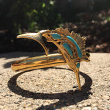 Vintage Re-Styled up-cycled Gold Tone Metal Marlin Bangle Bracelet