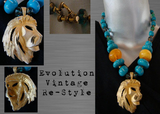 Vintage Re-Style Necklace with Vintage Gold Tone Lion Pendant