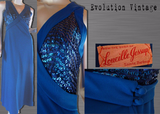 Vintage 1970's Cobalt Blue Gown with Sequin Bodice.