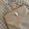 Vintage Ruth E. Saltz Tan Shoulder Bag With Chain Straps and Panther Detail