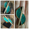 Emerald City: Vintage Jeweled S Cocktail Statement Ring with Faux Malachite, Crystals and Adjustable Band