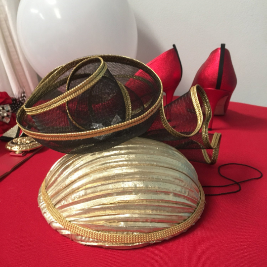 Vintage 80's NORDSTROM Gold Metallic Mini Hat with Black Mesh and Jewel Details