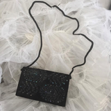 Vintage Black Velvet Evening Purse/Clutch with Cord Strap, Beaded and Sequin Peacock Feather Design