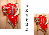 Vintage red and Cream Enamel Tiger Cocktail Statement Ring with Pave Set Crystals on adjustable Band