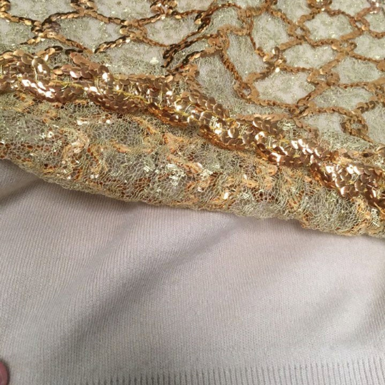 Vintage Antique Gold Sequin and Lace Park-Storyk Sweater