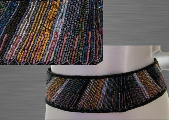 Vintage La Regale Multi Colored Beaded Velcro Belt