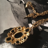 Vintage Gold Tone Necklace with Black Cobochon 6 Stone Pendant