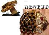 Vintage Jeweled Lion Head Cocktail Statement Ring