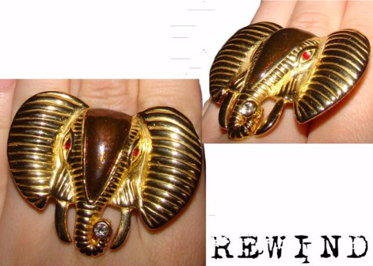 Vintage Gold Tone Metal and Enamel Elephant Head Statement Cocktail ring with adjustable band