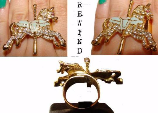 Vintage Carousel Horse Adjustable Statement Cocktail Ring