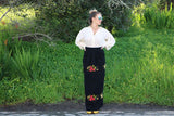 Vintage Black Wool Maxi Skirt with Embroidered Fruit Appliqué Motif