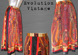 Vintage Orange Printed Skirt in Black, Red and Mustard Tones with Paisley Print