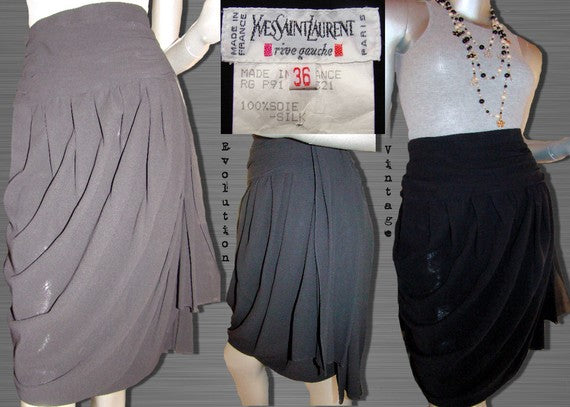 Vintage Yves Saint Laurent (YSL) Rive Gauche Black Silk Draped Skirt