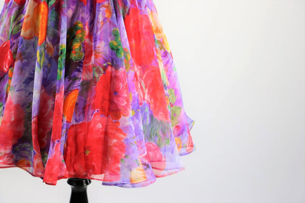 Vintage 1980's Floral Chiffon Mini Dress with Red Rhinestone Belt