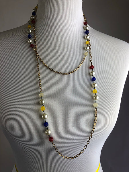 Vintage Primary Colored Beaded and Metal Necklace