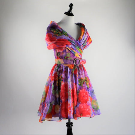 Vintage 1980's AJ Bari Cotton Bold Colorful Floral Print Strapless Dress With Back Cut Out