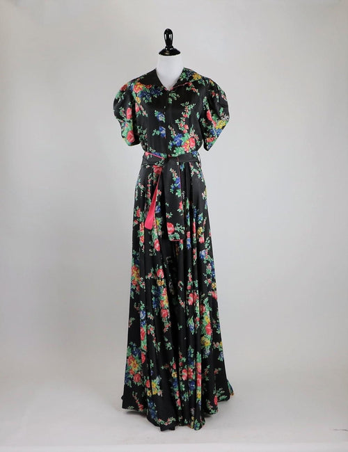 1930's Black Floral Print Rayon Faille House Coat