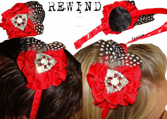 Red Pin Up Hair band with Vintage Rhinestone Brooch Black and White Polka dot Feather