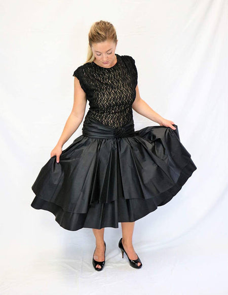 Vintage 1980's Black Lace Long Sleeve Cocktail Dress with Beaded Bodice and Pleated Skirt