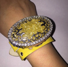 Vintage Yellow Leather UpCycled Watch Band Cuff Bracelet with Ornate Contemporary Crystal Brooch
